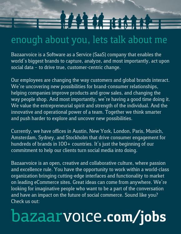 Bazaarvoice SXSW Recruitment Marketing One Sheet Back